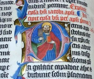 A photo of an illuminated Latin Bible from 1407 taken by Adrian Pingstone (wikimedia handle: arpingstone) and released into the public domain.
