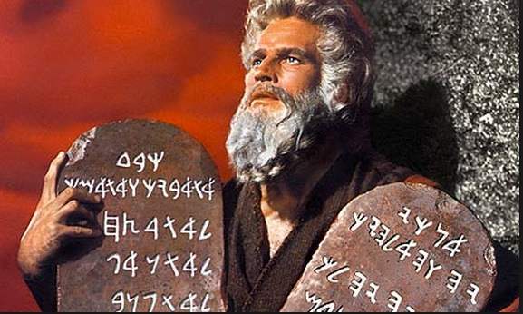 Charlton Heston as Moses: what language is used on the tablets?