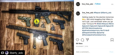 A screenshot from Instagram showing four handguns and two rifles.