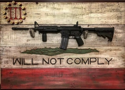 "An AR-15 rifle on a display rack bearing the words, ""WILL NOT COMPLY"" and the logo of the Three Percenters, a far-right militia linked to violence across the country."