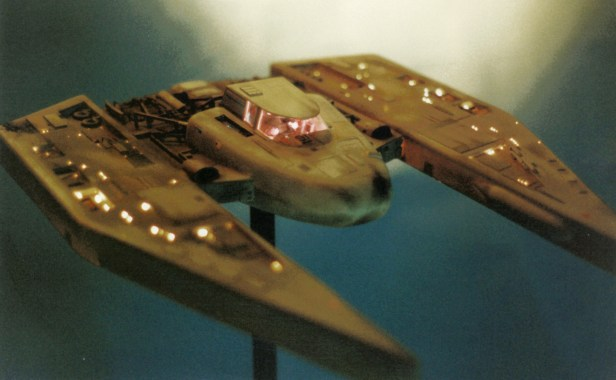 Miniature spaceship model, 36 inches long, 193 fiber optic lights, 1997.