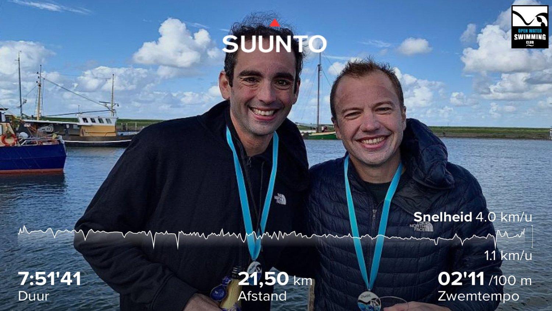 Skander & Koen zwemmen IJsselmeer over van Medemblik naar Stavoren