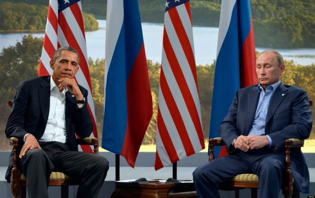 US President Barack Obama (L) holds a bilateral meeting with Russian President Vladimir Putin during the G8 summit at the Lough Erne resort near Enniskillen in Northern Ireland, on June 17, 2013. The conflict in Syria was set to dominate the G8 summit starting in Northern Ireland on Monday, with Western leaders upping pressure on Russia to back away from its support for President Bashar al-Assad. AFP PHOTO / JEWEL SAMAD (Photo credit should read JEWEL SAMAD/AFP/Getty Images)