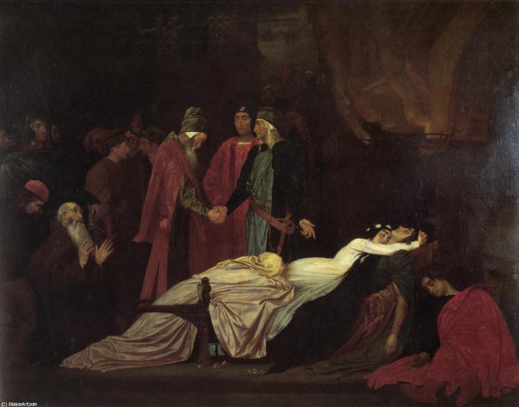 Lord Frederic Leighton: La riconciliazione dei Montecchi e Capuleti sui cadaveri di Romeo e Giulietta