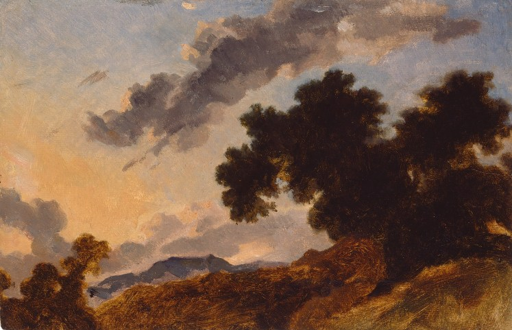 "Jean-Honoré Fragonard, ""Mountain Landscape at Sunset,"" c. 1765, oil on paper, National Gallery of Art, Washington, Chester Dale Fund, 1997.22.1"