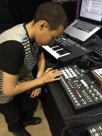Matt, one of the students from the YouthVille DJ class we are working with, trying out an Elektron synth.