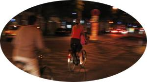 Cycling at night in Paris