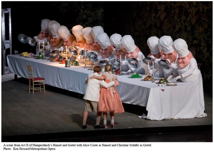 A scene from Act II of Humperdinck's Hansel and Gretel with Alice Coote as Hansel and Christine Schäfer as Gretel. Photo: Ken Howard/Metropolitan Opera