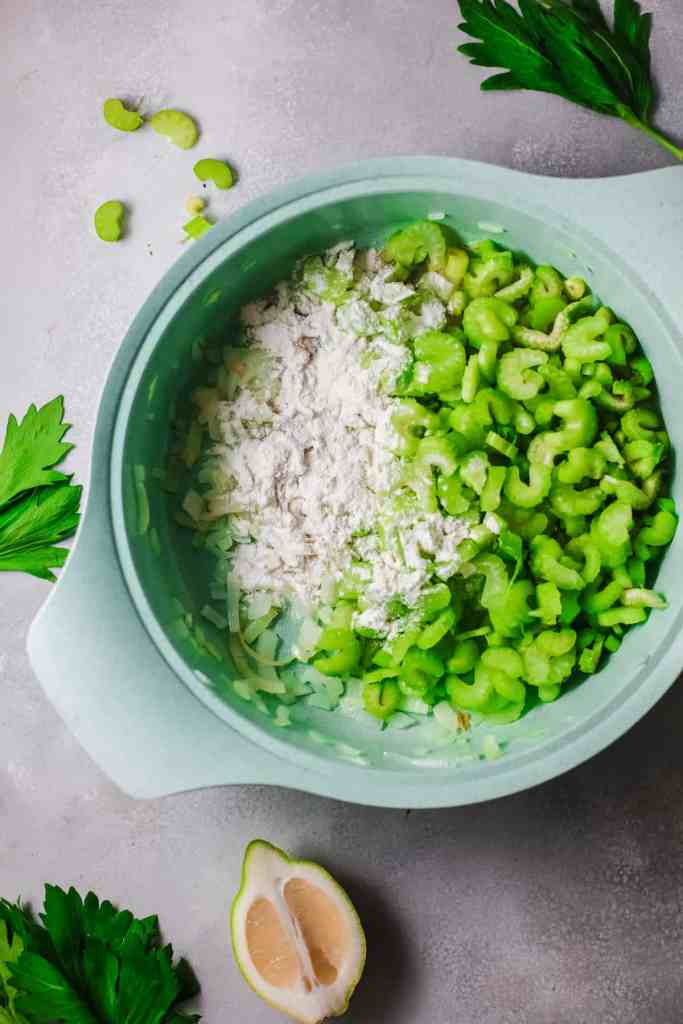 Vegetarian Celery Soup with Feta Cheese getting ready to add broth