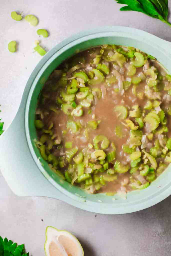 Vegetarian Celery Soup with Feta Cheese all ingredients added and ready to simmer before blending