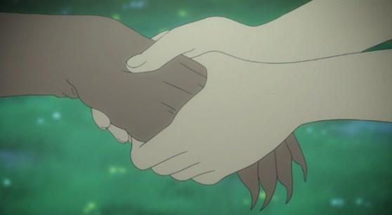 Shin Sekai Yori - Saki takes Squera's hand.