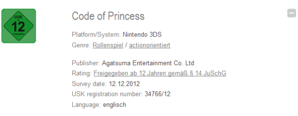 Code of Princess German Rated
