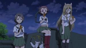 Girls und Panzer Piyotan, Momoga, and Nekonya