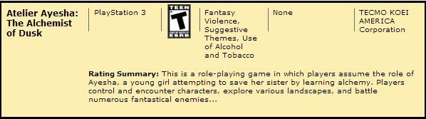 Atelier Ayesha ESRB Rating