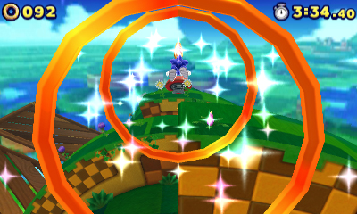 Sonic Flies Through Rings.