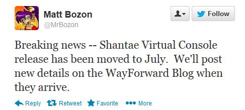 Shantae Twitter Announcement