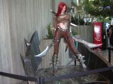 Red-haired swordswoman statue