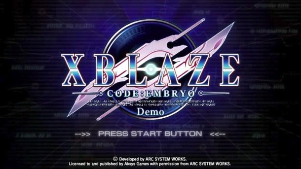 Demo Title Screen | XBlaze Code: Embryo
