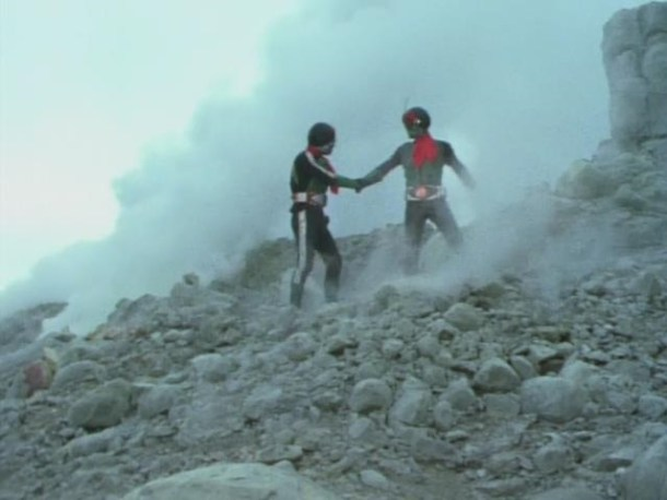 The first two Kamen Riders