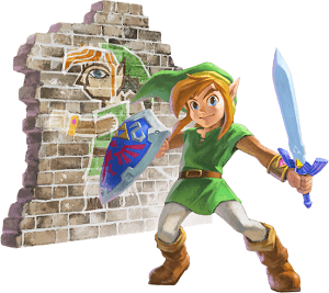 The Legend of Zelda: A Link Between Worlds - Link and Wall