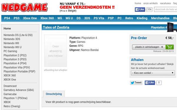 PS4 Zestiria Listing