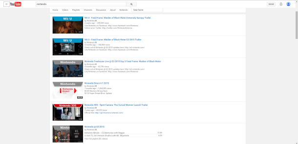 Nintendo of America | Searching for Fatal Frame on Nintendo's YouTube page.