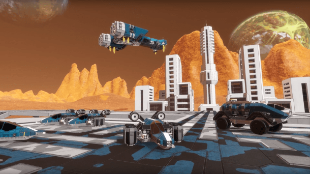Space Engineers Planets - A cool base nestled on the surface of an alien world.