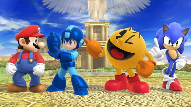 Mario, Mega Man, Pac-Man, and Sonic