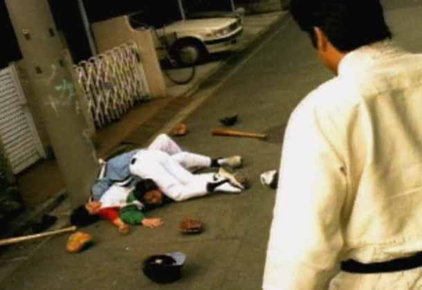 Segata Sanshiro | Segata just having beaten up some kids for not playing the Sega Saturn