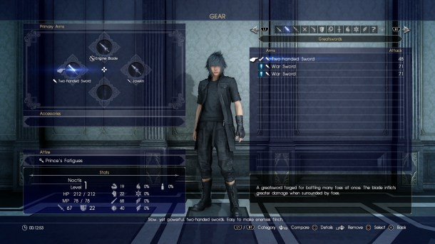 Final Fantasy XV | Menu screen