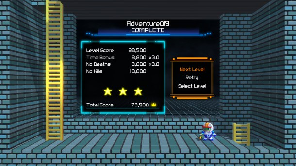 Lode Runner: Legacy | The level completion screen.