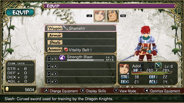 Ys SEVEN | Equipment screen