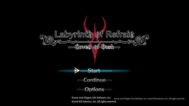 Labyrinth of Refrain Title Screen