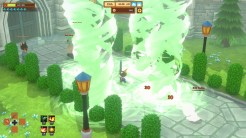 Wielding a sword and magic spells in battle.