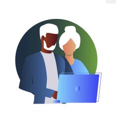 reforma da previdência, casal de idosos olhando para a tela de um computador