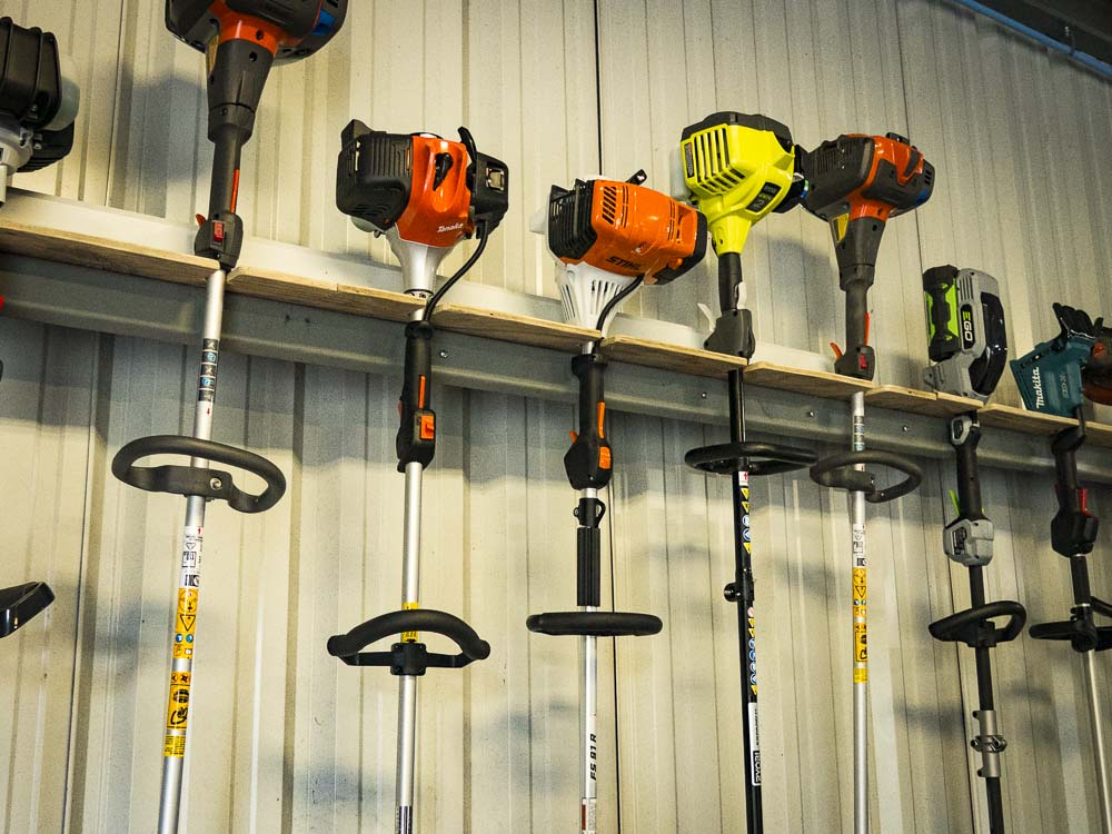 we make a homemade trimmer rack for the