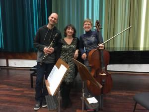 """Die Musiker des 2. Kammerkonzerts """"Cellosonaten und mehr"""": Martin Bewersdorff, Julia Golkhovaya und Franziska Batzdorf. © Christoph Müller-Girod"""