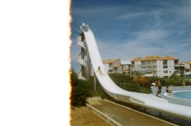 this is theo sliding down this huge slide at the little water park. going on this was probably oneof the scariest things i've done, and there are no photos of me on it because i only went on once. i decided i'd regret it later if i didn't at least have one try and convinced myself i could be missing out on something so i climbed up the stairs and sat at the top for like 5 minutes, nodding my head nervously at the french men behind me trying to convince me to hurry up and go, but i was just so freaked out. all the water beneath me was rushing downwards encourigingly and theo had survived it but from the top i couldn't see the bottom of the slide. it was higher than it looked and i felt like i would ust fall off, but with a line of angry french kids behind me i soon realised the only way was down the way in front of me so i uneasily closed my eyes and let go of the sides. i didn't see anything but i felt the steep rush and then opened my eyes to see i was on the ground again lol. here's theo going down.