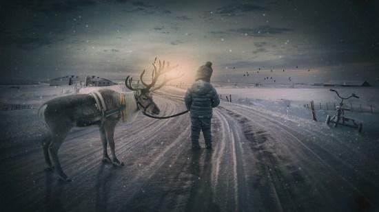Rêne et enfant sur une route enneigée.