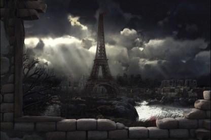 Représentation de Paris en ruine