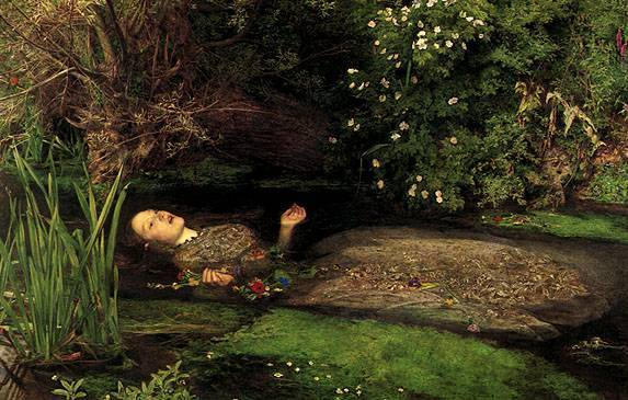 Tableau représentant Ophélie telle que décrite par Rimbaud dans son poème.