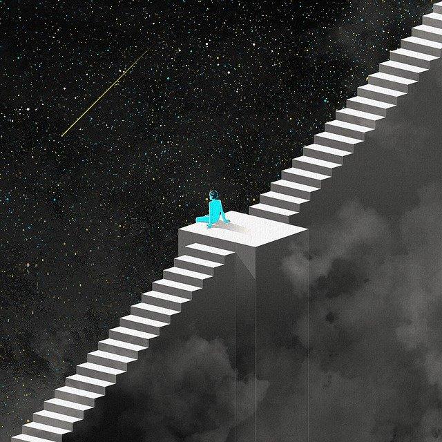 Dessin d'un personnages esquissé de dos, assit seul au milieu d'un escalier perdu dans l'espace. Il regarde une étoile filante.