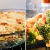 Laks, broccoli og kartofler i fad - med sauce!