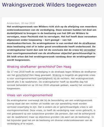 Fragment uitspraak van de Wrakingskamer in de zaak Wilders