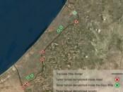 Satellietfoto Gaza met locatie terreurtunnels