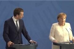 Sebastian Kurz en Angela Merkel op persconferentie 12 juni 2018