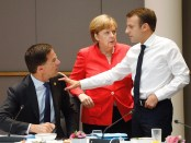 Rutte, Merkel en Macron op de Europese Raad van 28 juni 2018