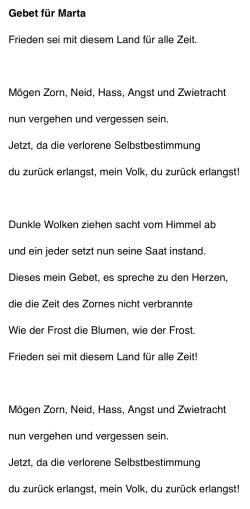 Duitse vertaling van het Gebed voor Marta