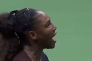 Serena Williams tijdens de finale van de US Open