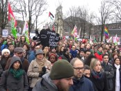 Linkse demonstranten in Amsterdam (febr. 2016)